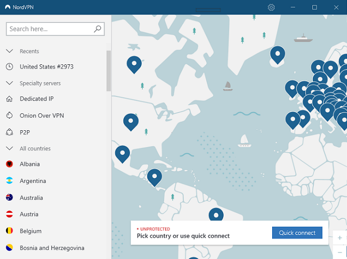 NordVPN Home View