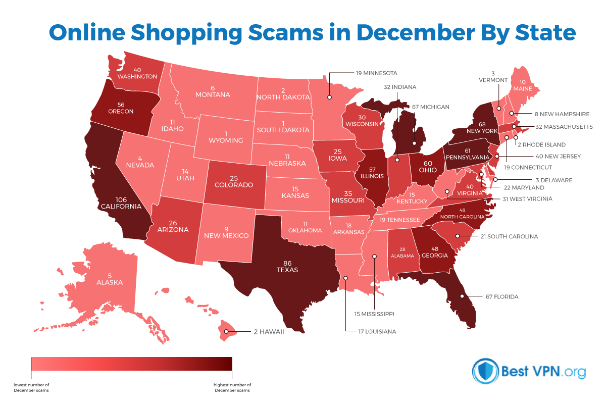 online scams in dec by state heat map